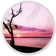 Purple Coastal Sunset Round Beach Towel