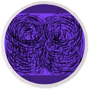 Purple Swirls Round Beach Towel