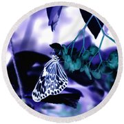 Purple Teal And A White Butterfly Round Beach Towel