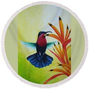 Purple-throated Carib And Bird Of Paradise Round Beach Towel