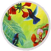 Purple-throated Caribs And Flamboyant Round Beach Towel