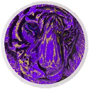 Purple Tiger Round Beach Towel
