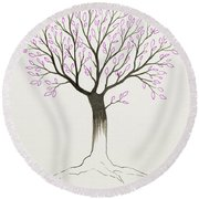 Purple Tree Round Beach Towel