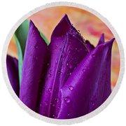 Purple Tulip Round Beach Towel by Garry Gay