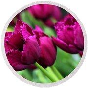 Purple Tulips Round Beach Towel