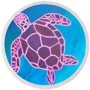 Purple Turtle Round Beach Towel