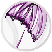 Purple Umbrella Round Beach Towel