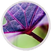 Purple Veins Round Beach Towel