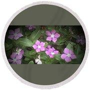 Purple Vintas Flower Photograph Round Beach Towel