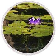Purple Water Lilly Distortion Round Beach Towel