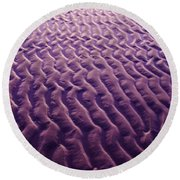 Purple Waves Of Sand Round Beach Towel