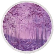Purple Woods Round Beach Towel