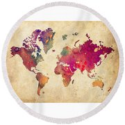 Purple World Map Watercolor Print  Round Beach Towel