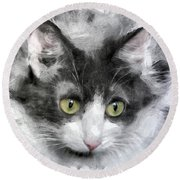 A Cat With Green Eyes Round Beach Towel