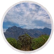 Pusch Ridge Morning H26 Round Beach Towel
