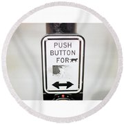 Push Button For Cat Round Beach Towel