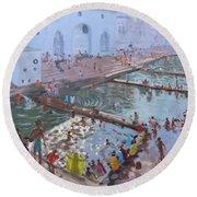 Pushkar Ghats Rajasthan Round Beach Towel