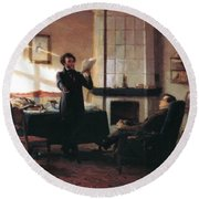 Pushkin In The Village Mihaylovskoye Round Beach Towel
