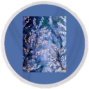 Pussy Willow Abstract Round Beach Towel