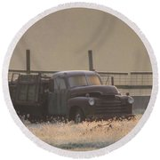 Put Out To Pasture Round Beach Towel