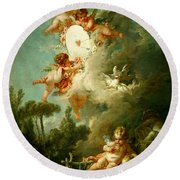 Putti Shooting At A Target Round Beach Towel