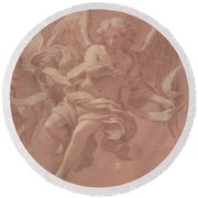 Putto And Angel Holding A Banderole, 1706  Round Beach Towel