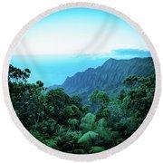 Puu O Kila Lookout, Kauai, Hi Round Beach Towel
