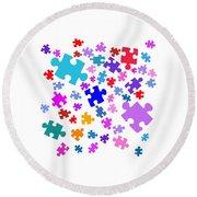 Puzzle Pieces Round Beach Towel