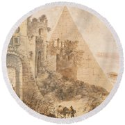 Pyramid Of Cestius And The Porta San Paolo, Rome Round Beach Towel