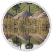 Pyrimids By The Lakeside Cache Round Beach Towel