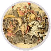 Pyrrhus Arrives In Italy With His Troupe Round Beach Towel