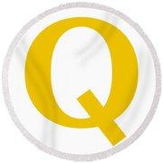 Q In Mustard Typewriter Style Round Beach Towel