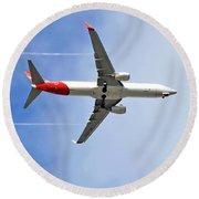 Qantas In Flight Round Beach Towel