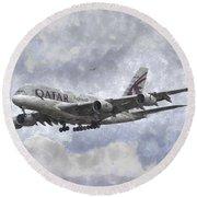 Qatar Airlines Airbus And Seagull Escort Art Round Beach Towel