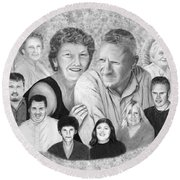 Quade Family Portrait  Round Beach Towel