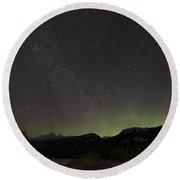 Quadrantid Meteor Shower, Milky Way Round Beach Towel