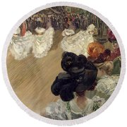Quadrille At The Bal Tabarin Round Beach Towel by Abel-Truchet