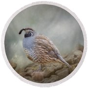 Quail On The Rocks Round Beach Towel