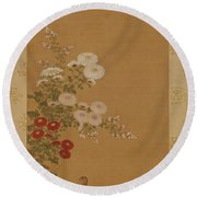 Quail Under Autumn Flowers Round Beach Towel