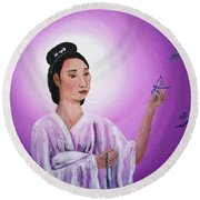 Quan Yin With Three Dragonflies Round Beach Towel
