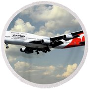 Quantas Boeing 747 Round Beach Towel