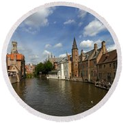 Quay Of The Rosary In Bruges Belgium Round Beach Towel