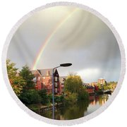 Quayside Double Rainbow Round Beach Towel