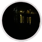 Quayside Night Reflections Round Beach Towel