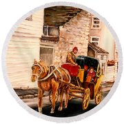 Quebec City Carriage Ride Round Beach Towel