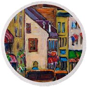 Quebec City Street Scene  Caleche Ride Round Beach Towel