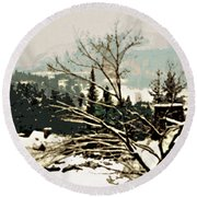 Quebec In January Round Beach Towel