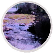 Quebec River Round Beach Towel