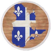 Quebec Rustic Map On Wood Round Beach Towel