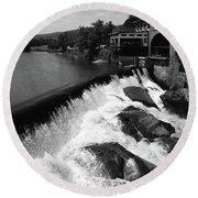 Quechee, Vermont - Falls 3 Bw Round Beach Towel